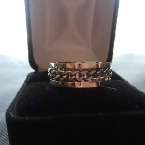 Silver Chain Link Steel Ring Sz 8